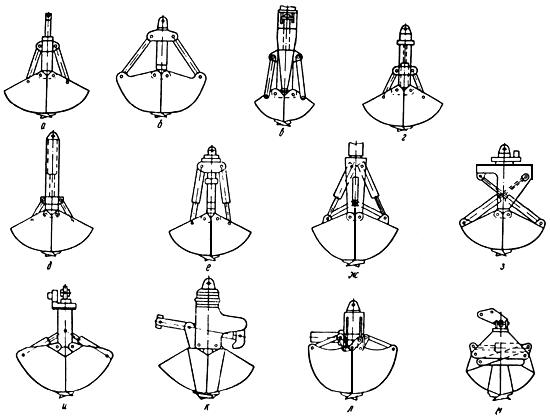 Схемы гидравлических грейферов