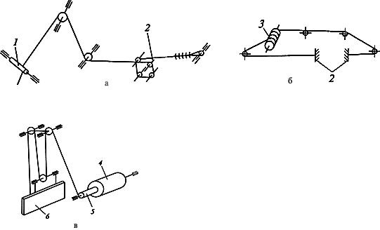Схема запасовки канатов крана КБ-572. а - грузового каната; б - тележечного каната; в - привода кабельного барабана.