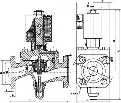 15кч888р; 15кч888р1 Клапан мембранный типа СКМР16 с электромагнитным приводом фланцевый из ковкого чугуна