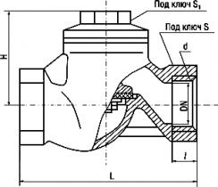 16кч11п; 16кч11р Клапан обратный подъемный муфтовый из ковкого чугуна
