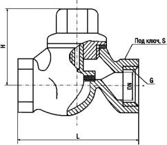 16кч17р Клапан обратный подъемный муфтовый из ковкого чугуна