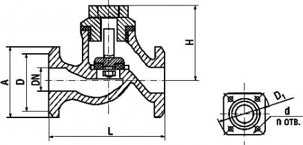 16кч3п; 16кч3р Клапан обратный подъемный фланцевый из ковкого чугуна