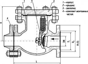 19с61нж, 19нж61нж, 19нж61нж2 (аналог 19с53нж, 19нж53нж)DN 50, 80, 100,150 мм, PN 4,0 МПа Затвор обратный фланцевый (клапан обратный поворотный (КОП))