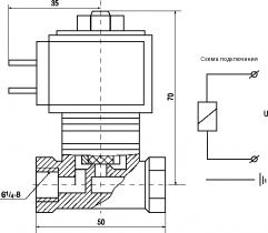 Клапан электромагнитный запорный муфтовый латунный