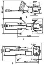 Рис.3. Схемы изменения опорной базы экскаваторов: а - Menzi Muck (Швейцария); б - Kaiser (Швейцария); в - Kamo 3X...