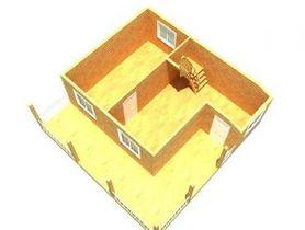 Дом из бруса Амур 6х6 с терасой, 78м2