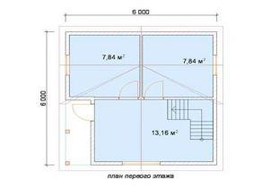 Дом из бруса Кама1 6х6, 60м2