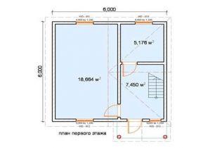 Дом из бруса Лесной 6х6, 64м2