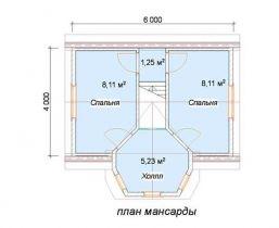 Дом из бруса Тайга 6х4, 45,63м2