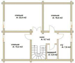 Дома бревенчатые Проект Б 38