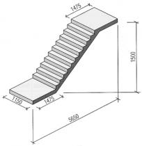 Марш лестничный плитной конструкции без фризовых ступеней ГОСТ 9818-85