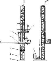 Схема запасовки каната этого механизма приведена на...  Рис. 21.  Подъемник ТП-17А: 1 - опорная рама...