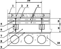 Полы на лагах с покрытием из паркета по железобетонной плите перекрытия на лагах Тип 11