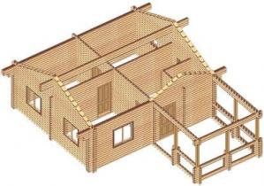 Проект дома из клееного бруса 52-200
