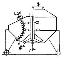 схема виброгазобетономешалки СМС-40 с встроенными в нее пружинными активатороми
